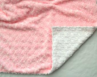 Blush Pink and White Rosette Baby Blanket - Ultra Soft Minky Blanket - Personalized Pink and White Girl Blanket