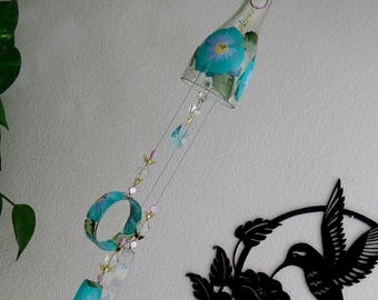 Glass Wind Chime, Recycled wine bottle wind chime, Flowers, Teal, Purple, Sun catcher, yard art, clear glass, House warming gift