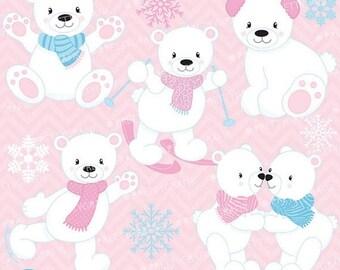 80% OFF SALE winter polar bears clipart commercial use, vector graphics, digital clip art, digital images - CL626
