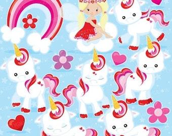 80% OFF SALE Valentine Unicorn clipart commercial use, unicorns vector graphics, valentine digital clip art, digital images  - CL938