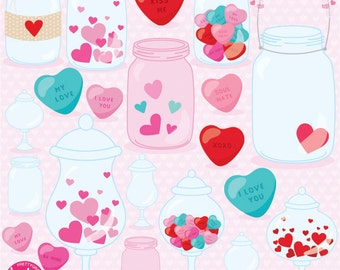 80% OFF SALE Jar of hearts clipart commercial use, vector graphics, mason jar digital clip art, ...