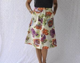 Retro High Waist Skirt || Floral A Line Skirt. Boho Knee Length Skirt. High Waist Midi Skirt. Cotton Canvas Flower Skirt w Pockets || medium