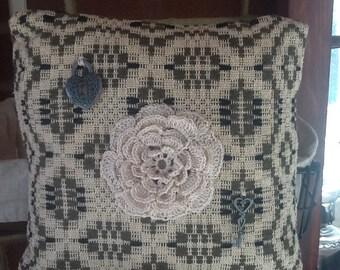 New handmade decorative Victorian pillow,pillow, vintage,Victorian,home decor,wedding,crochet pillow, fancy pillow