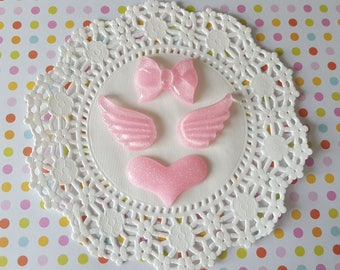 4 PC Pink Glitter Heart Wings Bow Cabochon Lot