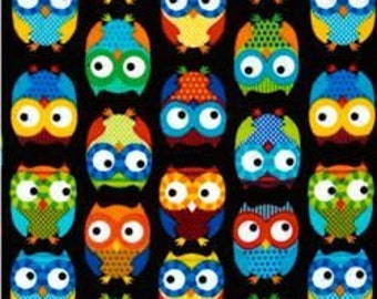 13 Inches of Owls Black - Timeless Treasures Fabric