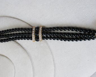 Vintage, Retro  Black Glass Baded with Rhinestone Cuff  Bracelet - Estate find! Awesome Find!