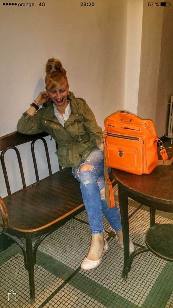 Orange Leather Bag, Full grain Bag, Overnight bag, Weekender Bag