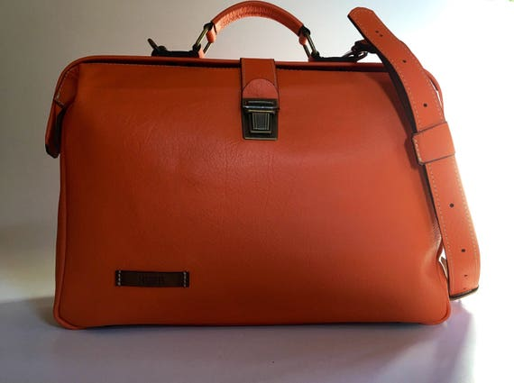 13 inches Woman Leather Briefcase, Woman Handbag, Woman Leather Bag, Orange Leather Bag, Handmade Leather briefcase