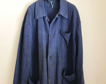 20% OFF vintage blue herringbone chore coat jacket