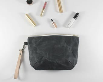 Mother's Day Gift, Gifts for Her, Makeup Bag, Purse, Clutch, Waxed Canvas Bag, Bridesmaid Clutch, Every Day Purse, Small Purse, Grey