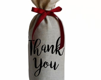 Thank You Wine Bag in Linen with Grosgrain Ribbon Tie Wine Gift Bags Wine Bottle Cover Valentine Holiday New Year Gift Hostess Gift Wedding