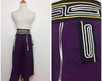 Purple Black Peasant Pants/ Purple Culottes Large