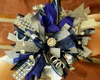 Navy blue & Silver wrist corsage other color options available