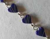 Vintage Sterling Silver Bracelet with Blue Enamel Hearts (st-1894)