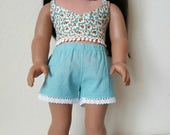 Festival shorts with Lace trim  for 18 inch dolls by The Glam Doll - Dark Seafoam