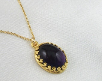 14k Gold Plated Oval Amethyst  Necklace, Gold Filled Chain, Mothers Day Gift, Gift For Her, Birthday Gift