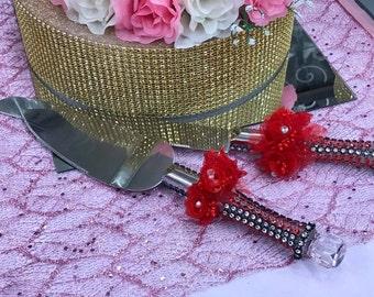 Red Organza Rose Cake Server and Knife Set Gift Keepsake