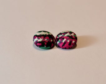 Pink Specks Ankara Button Earrings