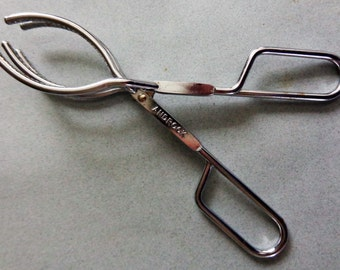 Androck Vintage Stainless Utensils Large Tongs 5 Tines