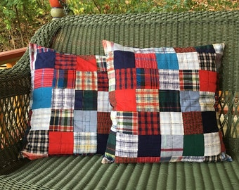 Boy Plaid Patchwork Pillow Cover: Refugee-Made