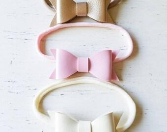 Pink gold leather bow headband Newborn leather bow headbands, leatherbow headbands, bows,Vintage baby headband, headband Photo prop