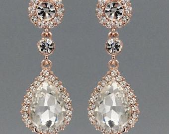 "PAIR Dangle Crystal Vintage Rose Gold Wedding Prom gauges plugs tunnels 2g 0g 00g 7/16"" 1/2"" 6mm 8mm 10mm 11mm 12mm"