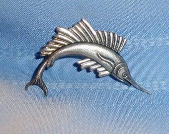 Vintage Embossed Sterling Silver Realistic Sailfish Brooch