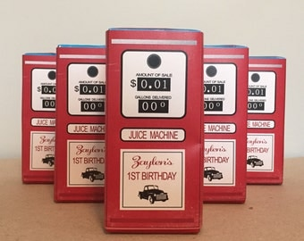 Vintage GAS TANK + PUMP // Juice Box Labels for Birthday + Baby Shower + Retirement // Race Car + Truck + On the Go Party