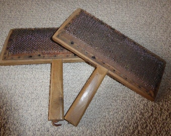 Pair of ANTIQUE L S Watson & CO. Wool Carders