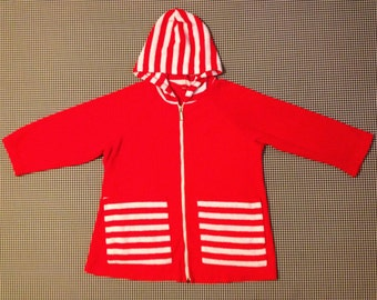 1960's, 3/4 sleeve, zip front, terrycloth, beach hoody, in bright red, with white stripes, Women's size Medium