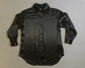 1990's, black, satin, button up, collar shirt, by Moschino, Women's size US 10 (Medium/Large)