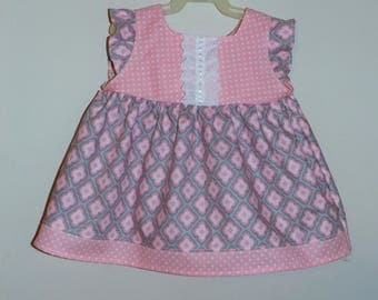 Pink  and Grey floral Spring Summer Easter Dress Ready to Ship Size 6/12 months