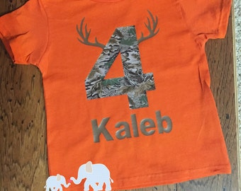 Orange camo birthday shirt with name and antlers
