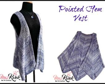 Pointed hem vest pdf crochet pattern ( size S - 3XL )