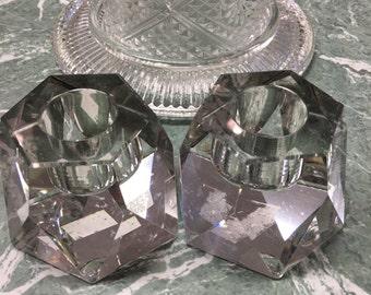 Cut Crystal Candlesticks Pair Vintage Gorgeous