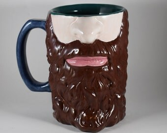 Beard Tankard, Custom Bearded Mug, Beard Stein, Manly Mug, Lumberjack Stein, Handmade Tankard, Gift for Dad, 3D Beard Mug, Large Beard Mug