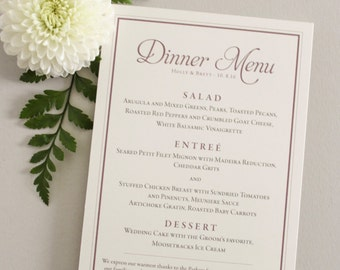 Personalize Purple and gray wedding menu card / Simple & Traditional / mauve, plum