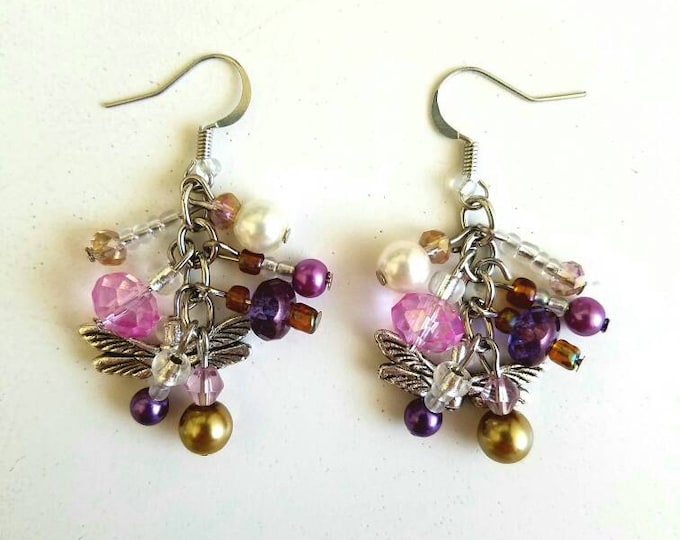 Pink Purple Gold White Dragonfly Beaded Crystal Cluster Earrings