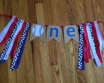 Babys first birthday ONE baseball banner