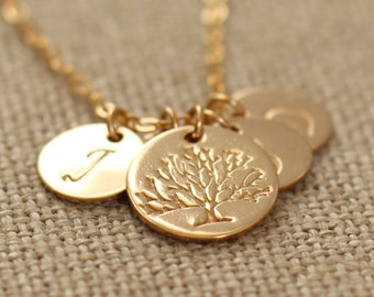 Personalized Necklace, Grandma Necklace, Mother's Necklace, Family Tree Pendant, Gold Fill, Nana Gift, Charm Necklace, Custom Family Tree