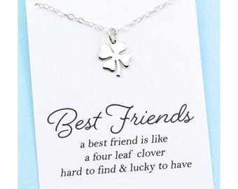 Best Friend Gift . Lucky Charm . Four Leaf Clover Necklace . Sweet and Simple Shamrock for Good Luck . SILVER OR GOLD