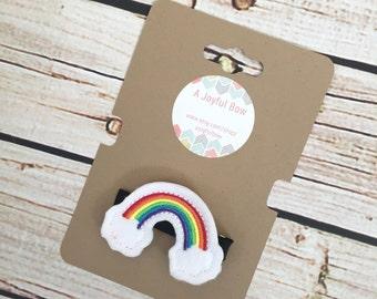 Rainbow hair clip, rainbows, feltie hair clips, fairytale, clips for girls, toddler hair clips