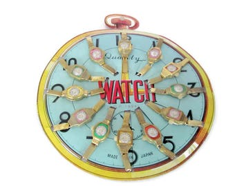 Vintage Toy Watch, 1960's Toy Watch Display Set, Made In Japan, Dime Store Children's Watches