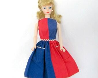 Vintage Barbie Clothes, 1960's Barbie Dress, #943 Fancy Free, Vintage Barbie Dress
