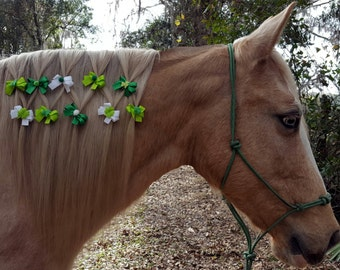 Clearance: St Patricks Little Bows for Equine Manes -- Ornament for Horses -- Fancy Mane Bows