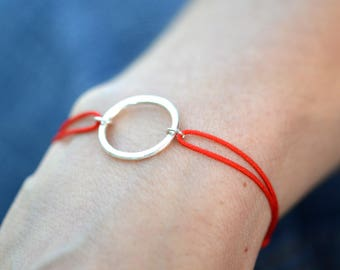 Red Friendship Bracelet, Circle Bracelet, Wish Bracelet, Lucky cord Bracelet Red Bracelet Charm Bracelet Silver Bracelet Adjustable Bracelet