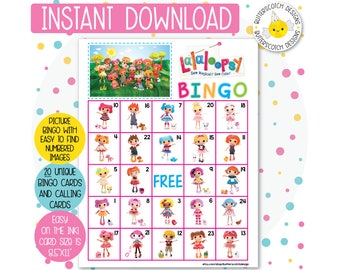 Lalaloopsy Printable Bingo Cards (20 Different Cards) - Instant Download