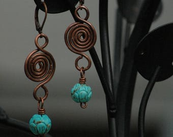 Turquoise Copper Spiral Earrings, Handmade Earrings, Cowgirl Jewelry, Rustic, Magnesite, Boho Earrings, Gift for Her, Arcturus Creations