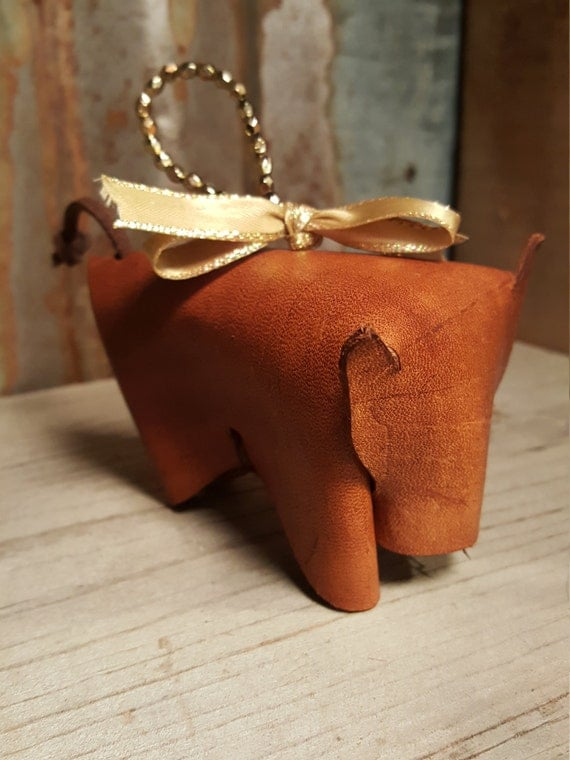 Leather Christmas Ornament, Leather cow ornament, cow ornament, western ornament