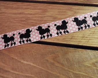 Pink poodle print ribbon - 3 yards